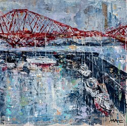 Waterfront, Edinburgh by Mark Curryer - Original Mixed Media on Board sized 24x24 inches. Available from Whitewall Galleries